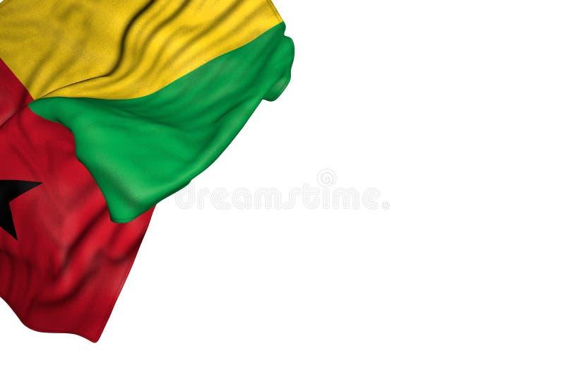 Illustrazione sveglia della bandiera 3d di Giorno dei Caduti - bandiera della Guinea-Bissau con i grandi popolare che si trovano  illustrazione di stock