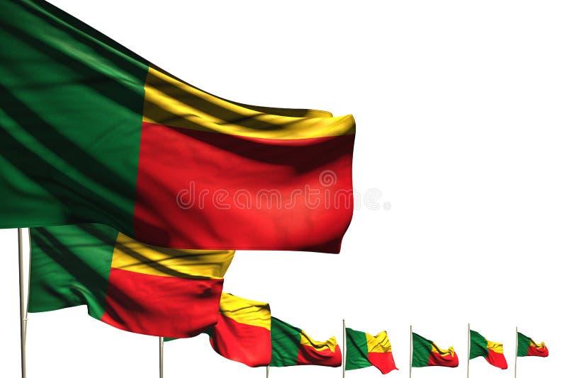 Illustrazione sveglia della bandiera 3d di Giorno dei Caduti - molte bandiere del Benin hanno disposto la diagonale isolata su bi illustrazione di stock