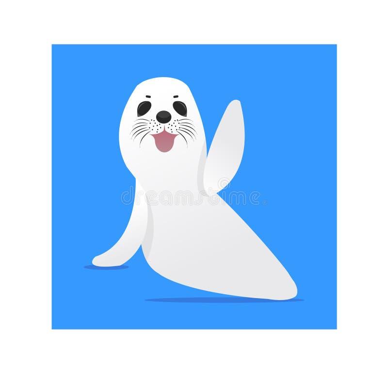 Illustrazione sveglia della foca della Groenlandia con fondo blu royalty illustrazione gratis