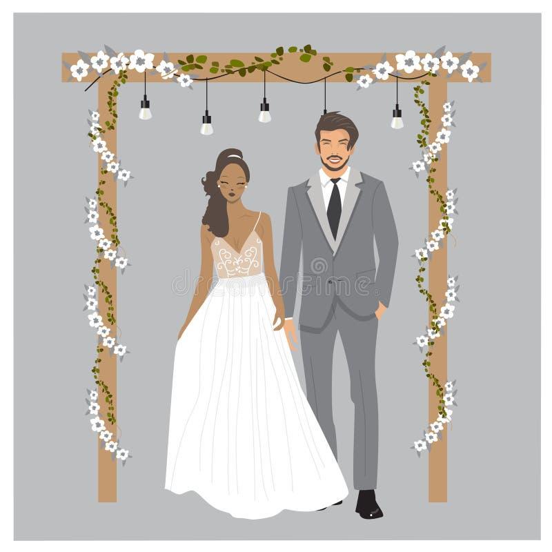 Illustrazione sveglia delle coppie di nozze di fascino Sposa e sposo isolati nel vettore Illustrazione del fumetto dei vestiti el illustrazione di stock