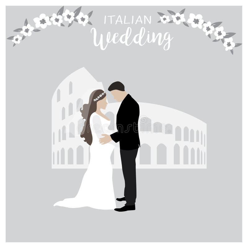 Illustrazione sveglia delle coppie di nozze sposa incinta e sposo isolati nel vettore Illustrazione del fumetto dei vestiti elega illustrazione di stock