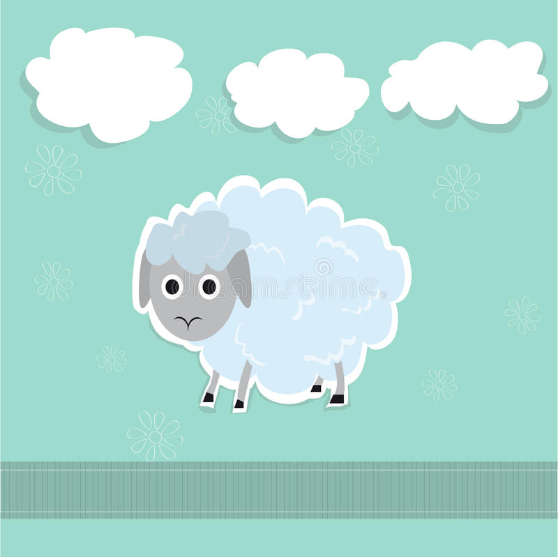 Illustrazione sveglia delle nuvole e delle pecore fotografia stock libera da diritti