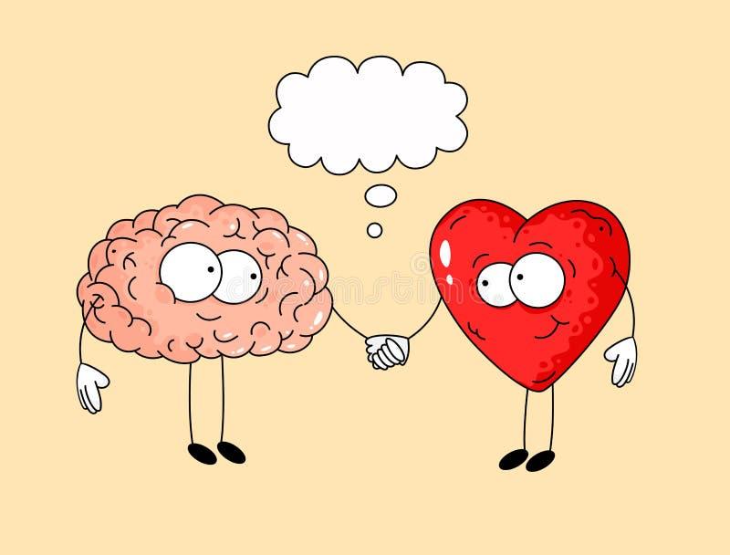 Illustrazione sveglia di cervello umano e di cuore royalty illustrazione gratis