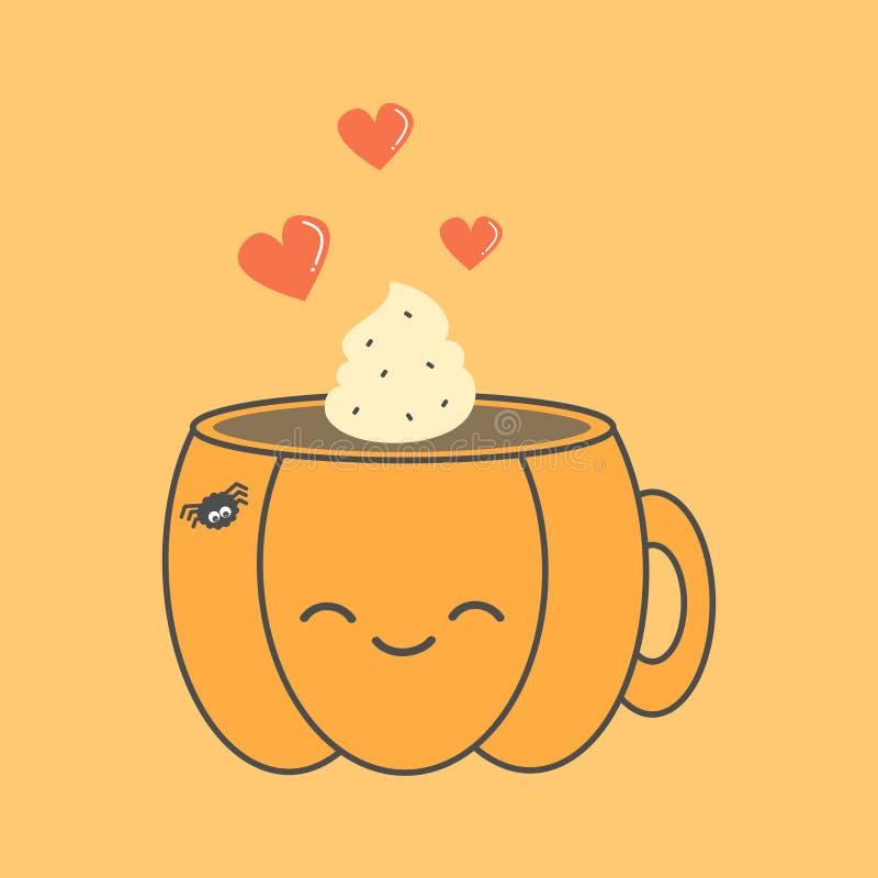 Illustrazione sveglia di Halloween di vettore del fumetto con la tazza di caffè nella forma di zucca royalty illustrazione gratis