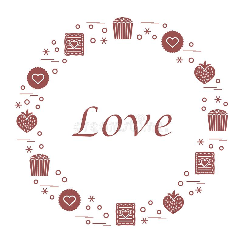 Illustrazione sveglia di vettore con differenti dolci romantici sistemati illustrazione di stock