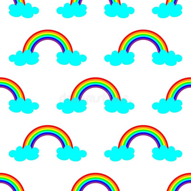 Illustrazione sveglia di vettore con l'arcobaleno e le nuvole blu Progettazione senza cuciture del modello per i bambini royalty illustrazione gratis