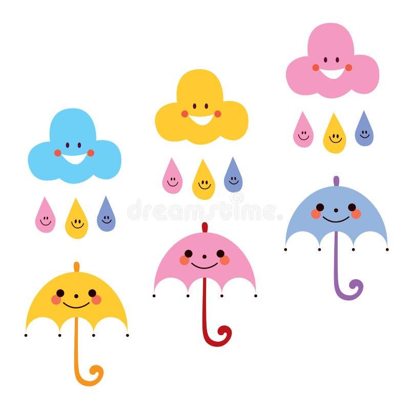 Illustrazione sveglia di vettore dei caratteri delle nuvole delle gocce di pioggia degli ombrelli royalty illustrazione gratis