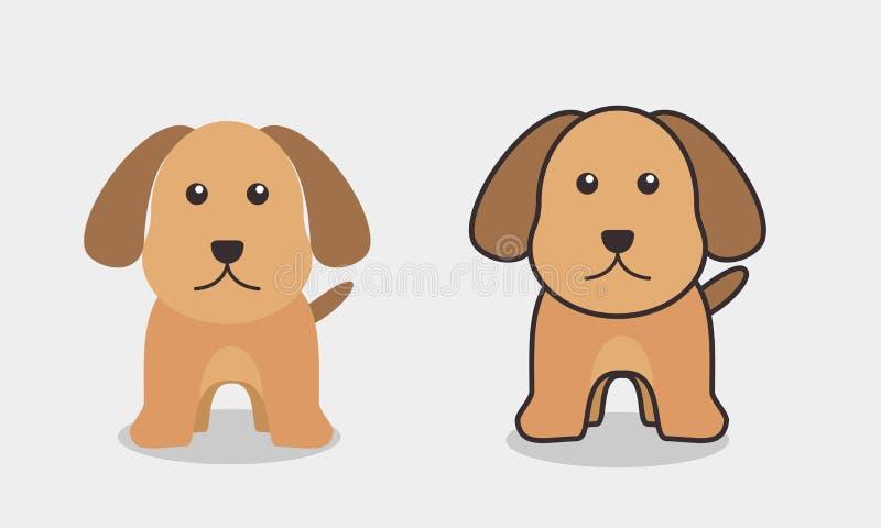 Illustrazione sveglia di vettore del cane con progettazione piana su fondo isolato illustrazione di stock