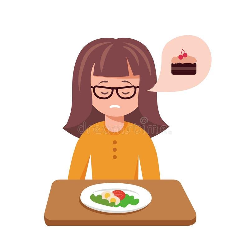 Illustrazione sveglia di vettore del fumetto della ragazza triste con la sua cena illustrazione di stock