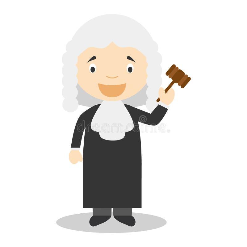 Illustrazione sveglia di vettore del fumetto di un giudice royalty illustrazione gratis