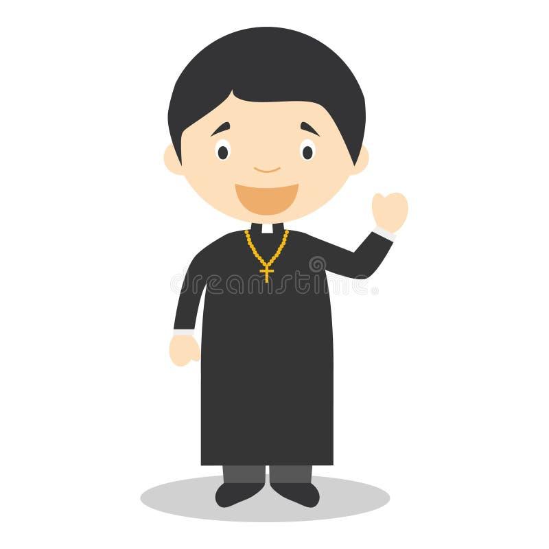 Illustrazione sveglia di vettore del fumetto di un sacerdote illustrazione vettoriale