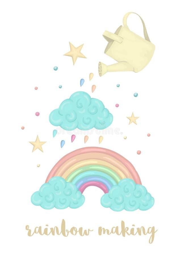 Illustrazione sveglia di vettore del processo di fabbricazione dell'arcobaleno di stile dell'acquerello con la nuvola, annaffiato illustrazione vettoriale