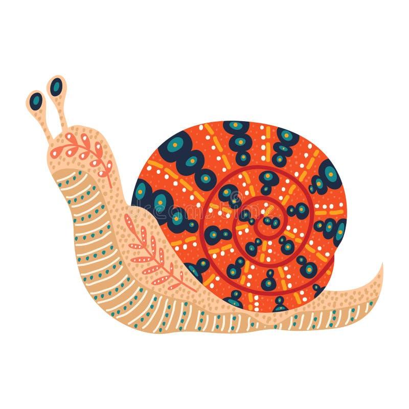 Illustrazione sveglia di vettore della lumaca piega isolata su fondo bianco illustrazione vettoriale