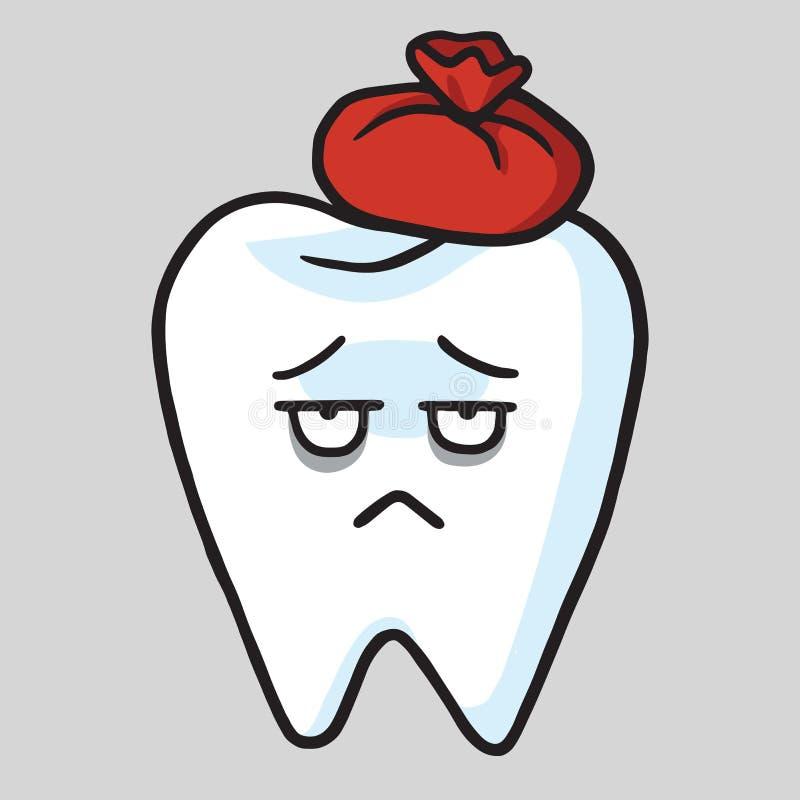 Illustrazione sveglia di vettore di mal di denti del fumetto del dente illustrazione di stock