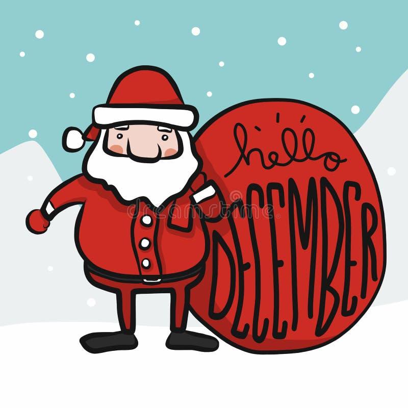 Illustrazione sveglia di vettore di stile di scarabocchio del fumetto di Santa Claus ciao dicembre illustrazione di stock
