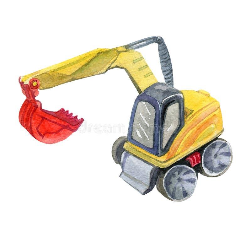 Illustrazione sveglia gialla dell'acquerello dell'escavatore illustrazione di stock