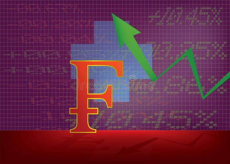 Illustrazione svizzera di crescita di valuta con verde sulla freccia royalty illustrazione gratis