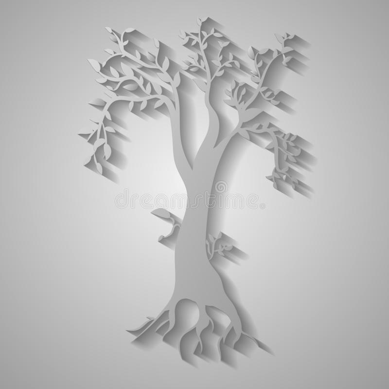 Illustrazione tagliata di carta dell'albero nel fondo grigio illustrazione vettoriale