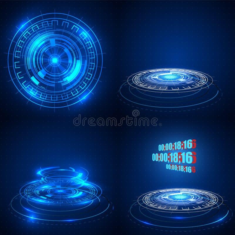 Illustrazione tecnologica astratta di vettore del fondo Fondo futuristico di concetto di tecnologia di fi di sci ciao illustrazione di stock