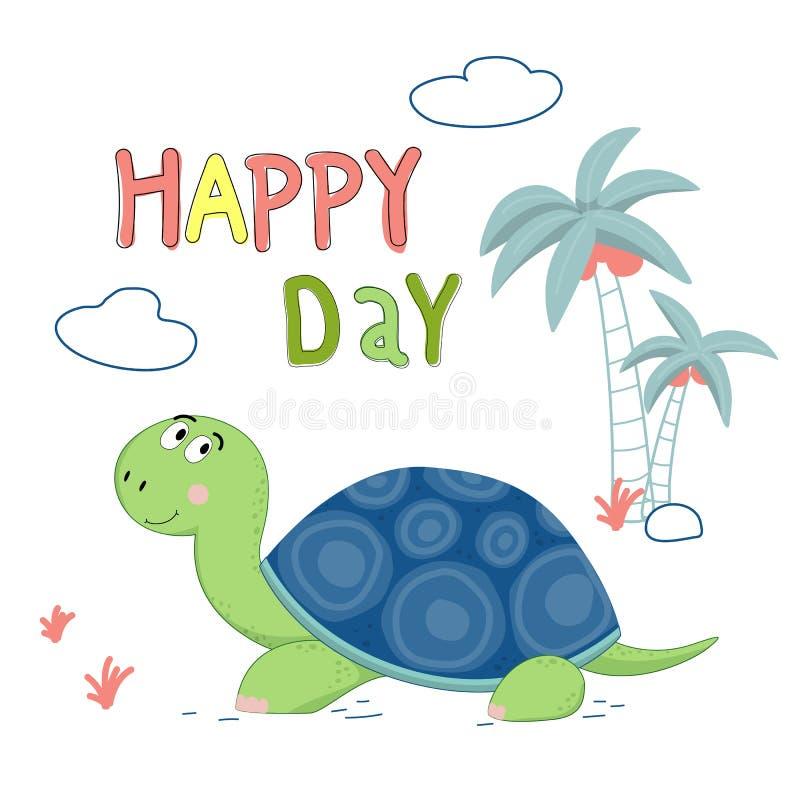 Illustrazione tirata di vettore della tartaruga sveglia con l'iscrizione del giorno con lettere felice fotografia stock