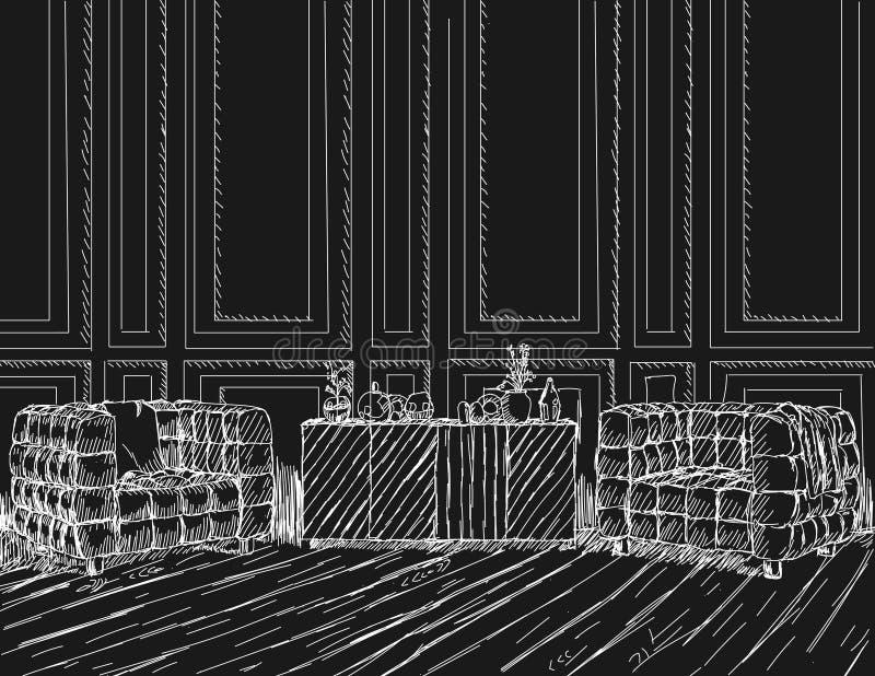 Illustrazione tirata di vettore di uno stile di schizzo royalty illustrazione gratis