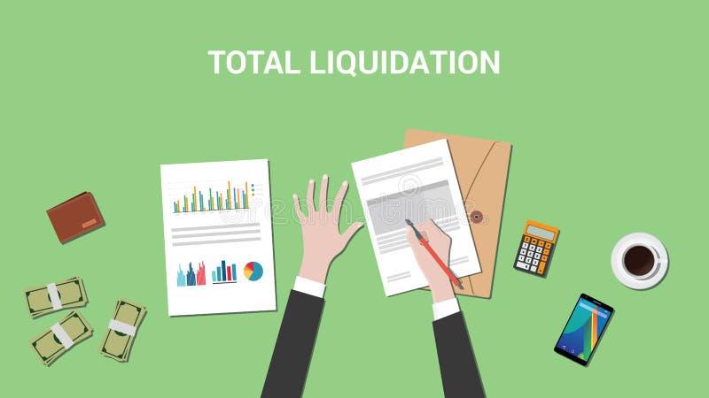 Illustrazione totale di concetto di liquidazione con l'uomo di affari che lavora ad un documento di lavoro di ufficio e ad un gra royalty illustrazione gratis