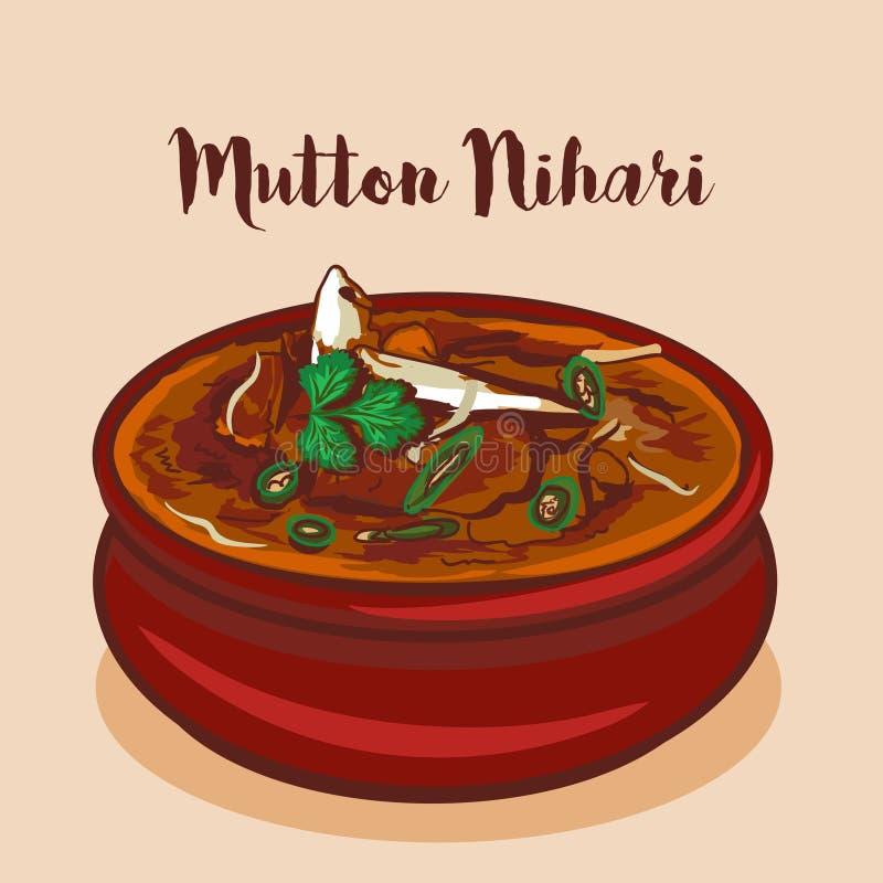 Illustrazione tradizionale di vettore di cucina di mughalai di nihari del montone Nihari o di Nalli illustrazione vettoriale