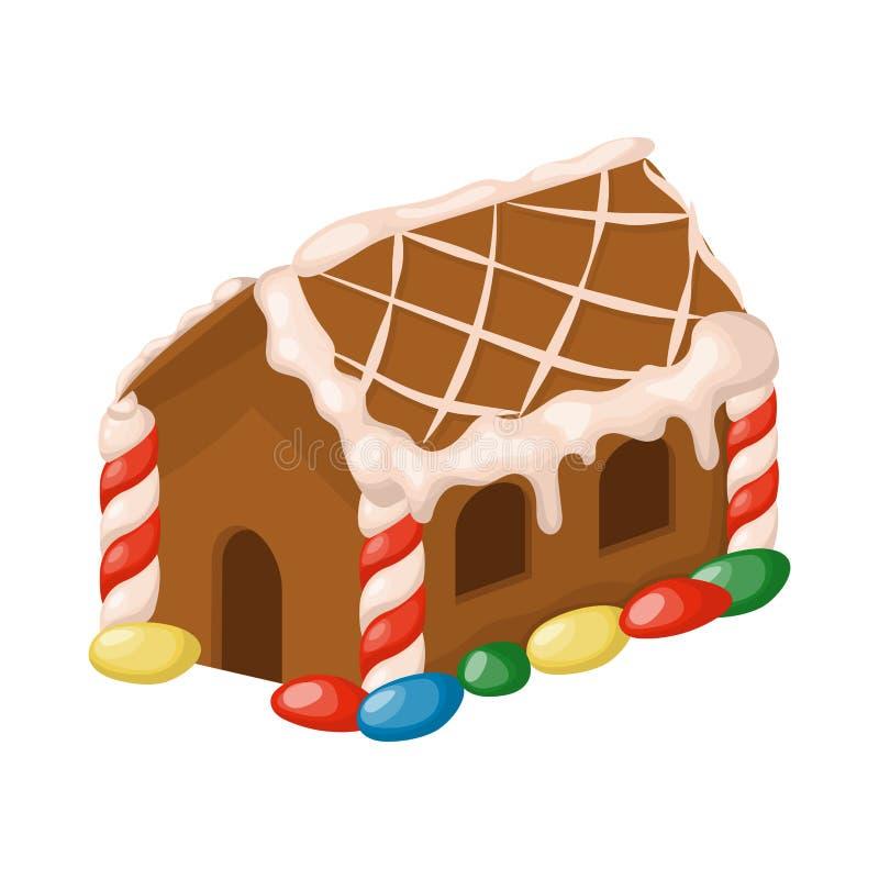 Illustrazione tradizionale dolce di vettore del biscotto del dessert della caramella dell'alimento di festa di natale della casa  illustrazione vettoriale