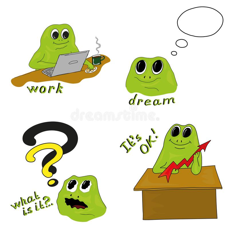 Illustrazione trattata di lavoro di vettore con la rana verde illustrazione vettoriale