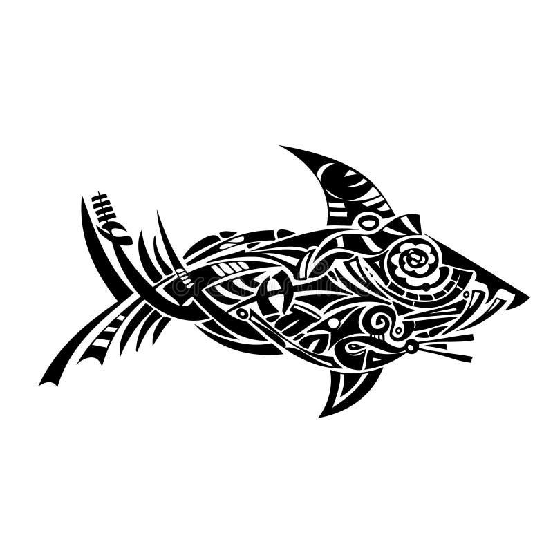 Illustrazione tribale dello squalo fotografia stock libera da diritti
