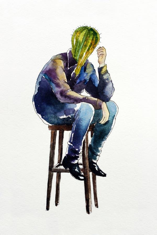 Illustrazione triste dell'acquerello di concetto del carattere dell'uomo solo del cactus illustrazione di stock