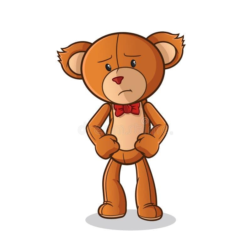 Illustrazione triste di arte del fumetto di vettore della mascotte dell'orsacchiotto illustrazione di stock