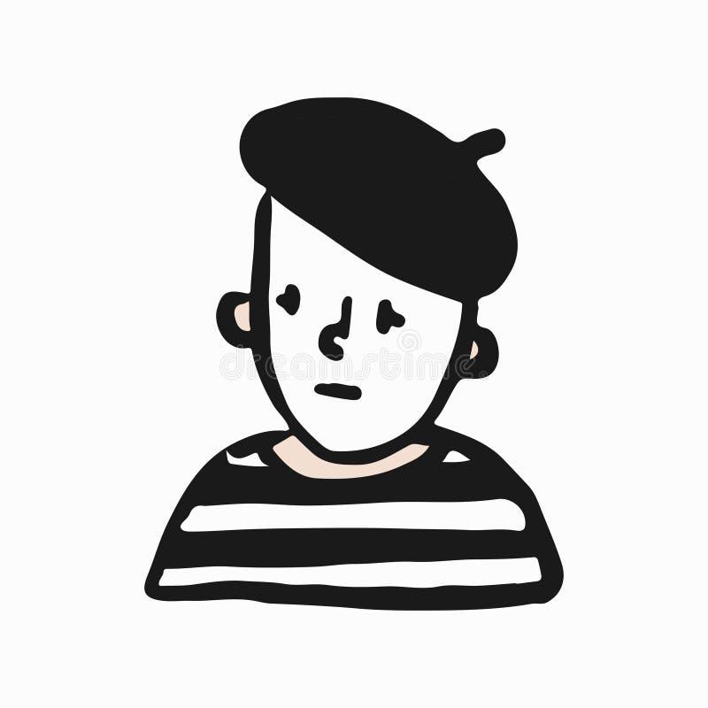 Illustrazione triste di scarabocchio del mimo del francese illustrazione vettoriale