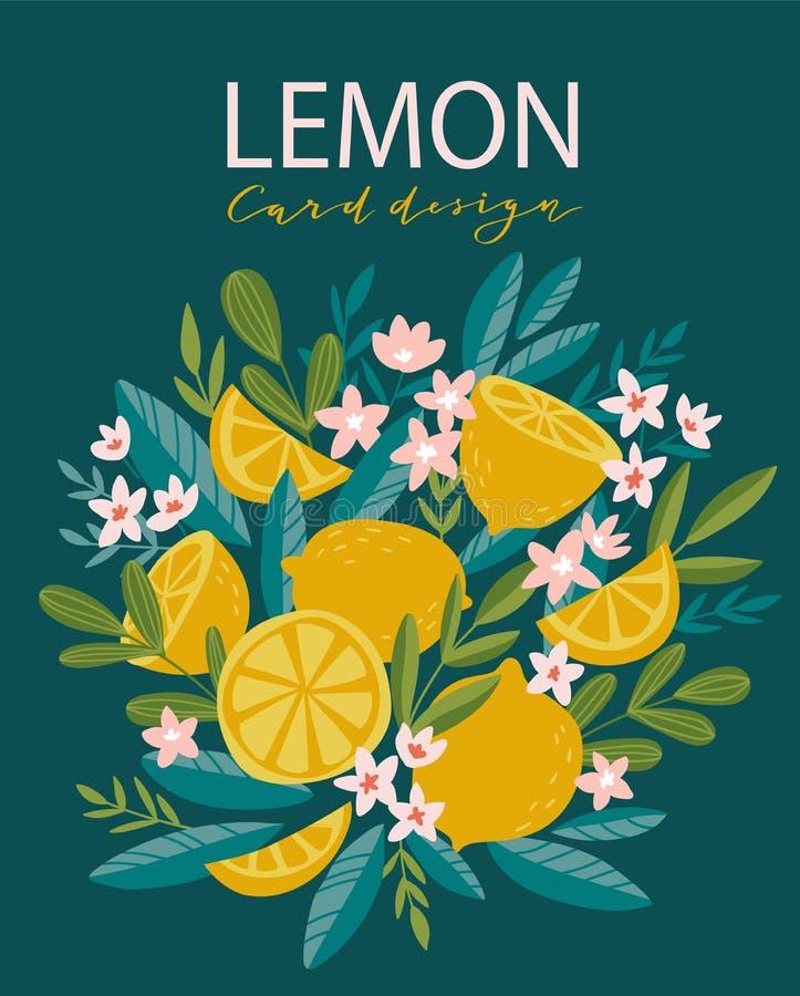 Illustrazione tropicale del limone di estate Carta decorativa di vettore con stile tirato di fioritura dell'albero di agrume a di royalty illustrazione gratis