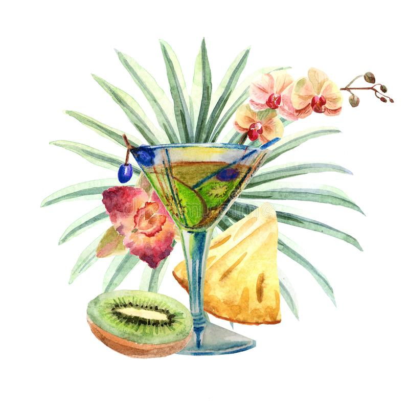 Illustrazione tropicale dell'acquerello con il cocktail, i frutti ed i fiori di estate illustrazione di stock