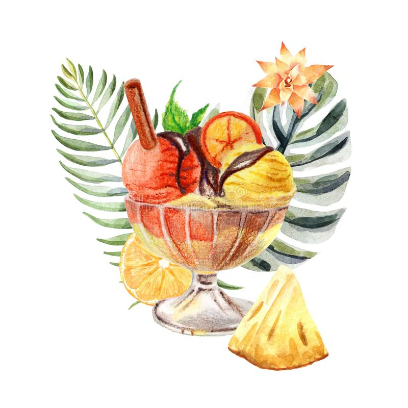 Illustrazione tropicale dell'acquerello con il gelato, i frutti ed i fiori illustrazione di stock