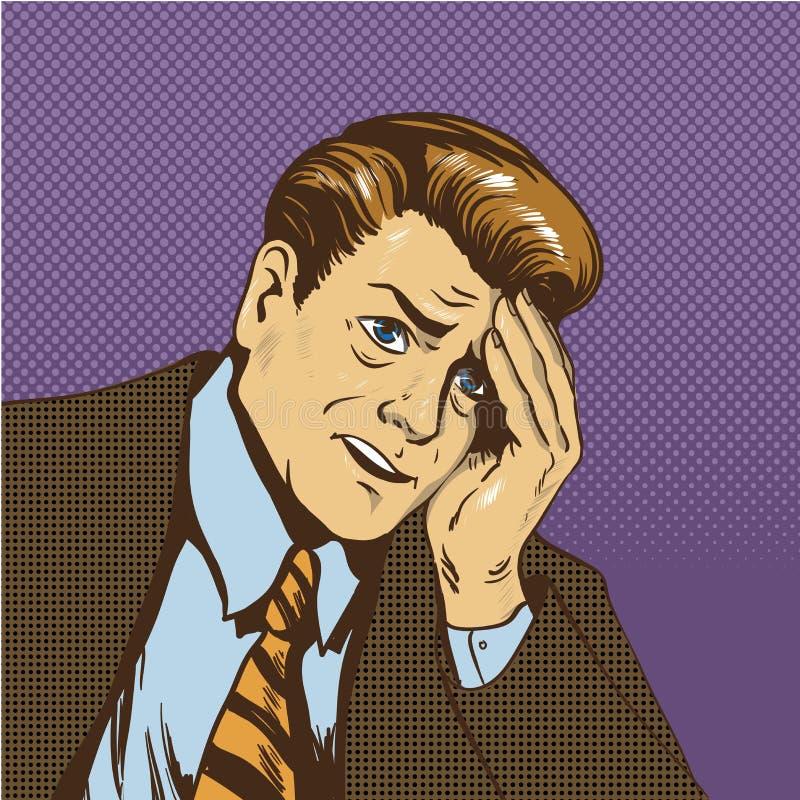 Illustrazione turbata di vettore dell'uomo nel retro stile comico di Pop art Uomo d'affari triste nel pensiero di situazione di s royalty illustrazione gratis