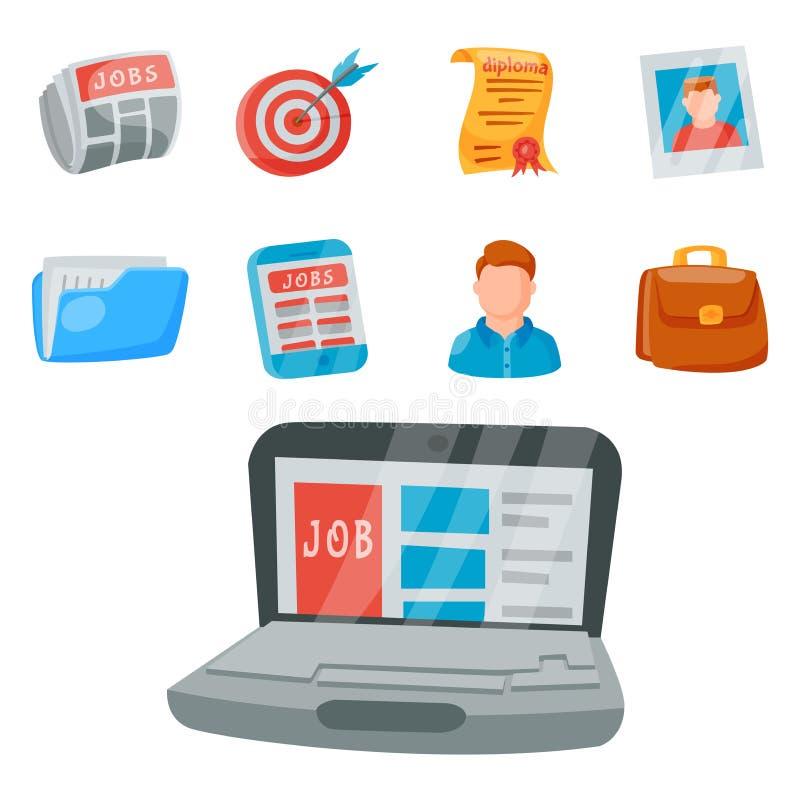 Illustrazione umana del lavoro di occupazione di assunzione di concetto dell'ufficio dell'insieme dell'icona di ricerca di lavoro illustrazione di stock