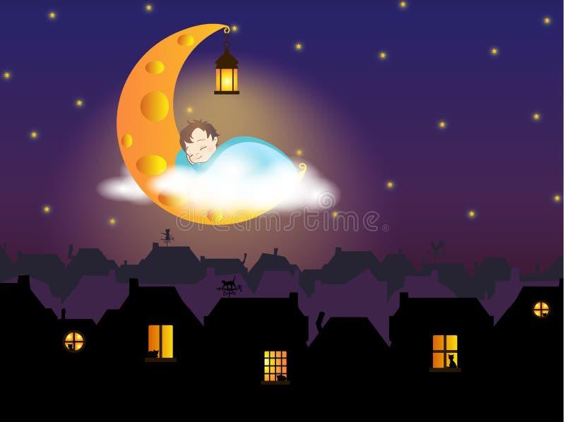 Illustrazione - un bambino che dorme sulla luna del formaggio, sopra la città di favola (europeo anziano) immagini stock libere da diritti