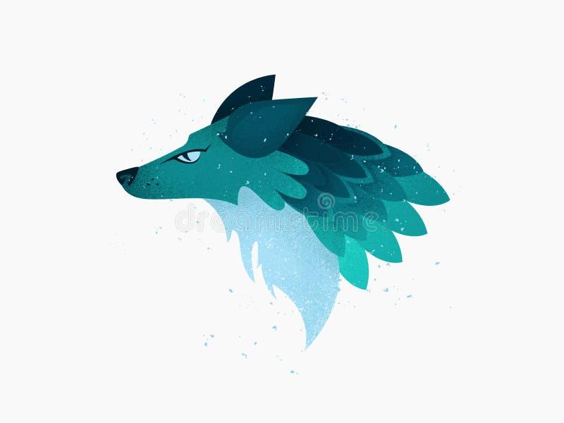 Illustrazione: Una testa del lupo immaginario o del Fox o dell'animale del cane nei colori del turchese e del blu con struttura illustrazione vettoriale