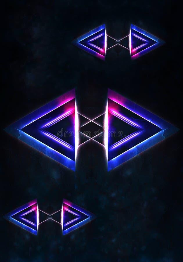 Illustrazione unica astratta 3d dei triangoli multicolori artistici collegati su un fondo nebbioso royalty illustrazione gratis