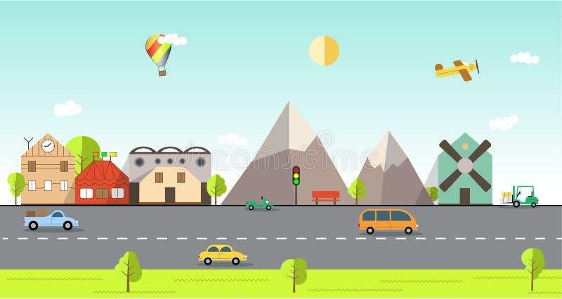 Illustrazione urbana del paesaggio di progettazione piana royalty illustrazione gratis