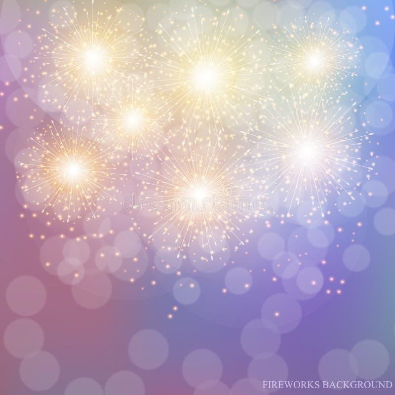 Illustrazione variopinta dei fuochi d'artificio Vettore fotografie stock