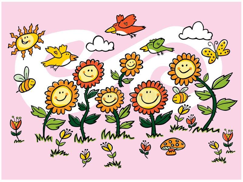 Illustrazione variopinta dei girasoli, degli uccelli e delle api del fumetto di vettore Adatto a cartoline d'auguri ed a murali d illustrazione vettoriale