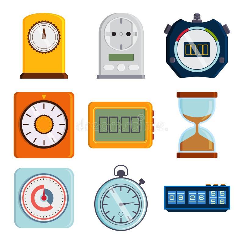 Illustrazione variopinta del cronometro di informazioni digitali di numero degli strumenti di misura del temporizzatore di vettor illustrazione vettoriale