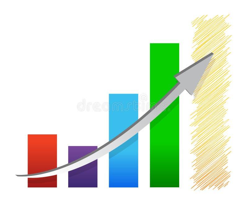 Illustrazione variopinta del grafico di miglioramento della situazione economica illustrazione di stock