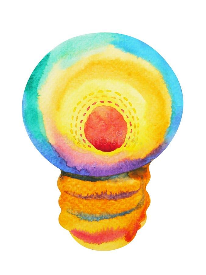 Illustrazione variopinta della pittura dell'acquerello della lampadina della luce intensa illustrazione vettoriale