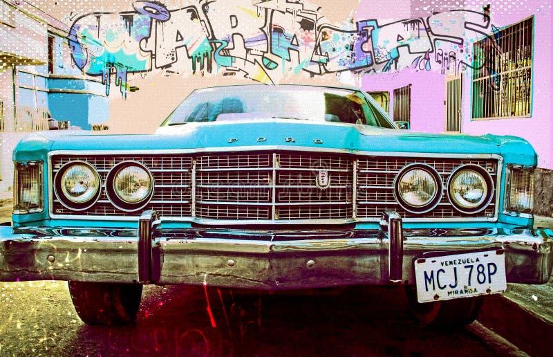 Illustrazione variopinta di vecchio americano parcheggio in via di Caracas nei bassifondi con i graffiti fotografia stock libera da diritti