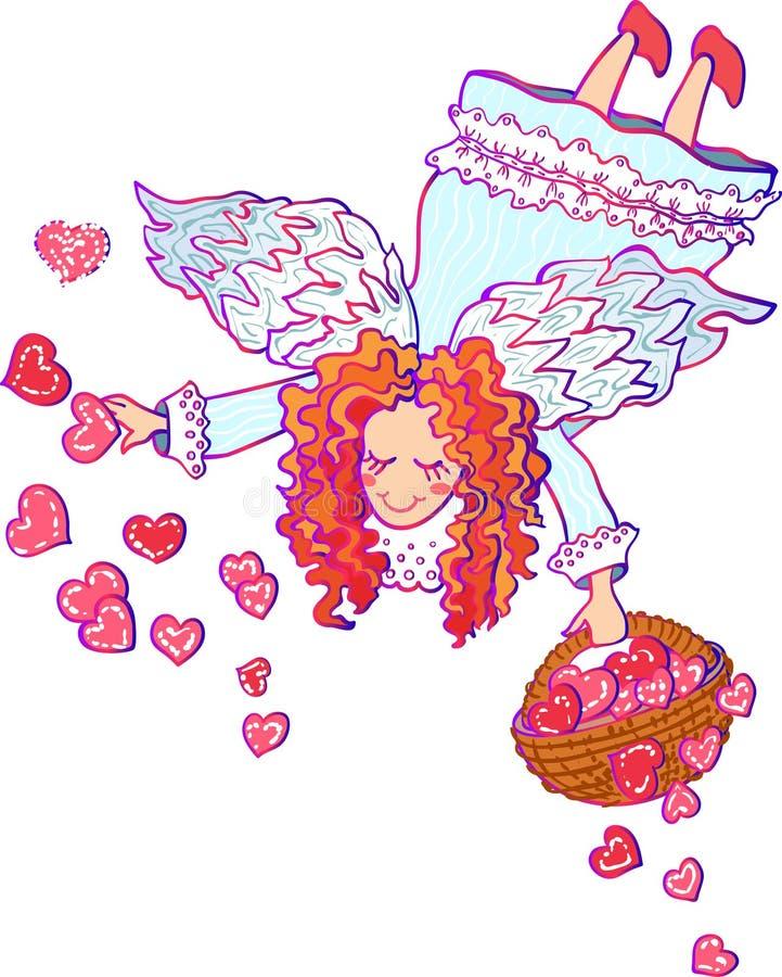 Illustrazione variopinta di vettore del biglietto di S. Valentino di angelo illustrazione vettoriale