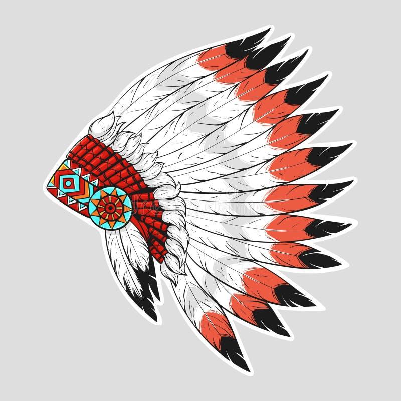 Illustrazione variopinta di vettore del cofano di guerra del nativo americano illustrazione di stock